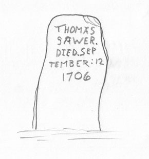 Fig. 13 Example of a plank-like marker from colonial British New England, Thomas Sawyer, 1706, Lancaster, Massachusetts.