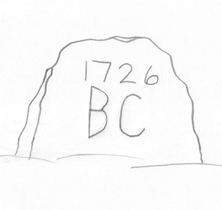 "Fig. 15 Sketch of a trapezoidal gravemarker inscribed ""BC 1726"", Wilmington, Delaware. Many of the individuals interred here in the Old Swedes' Churchyard descend from the original colonists of New Sweden."