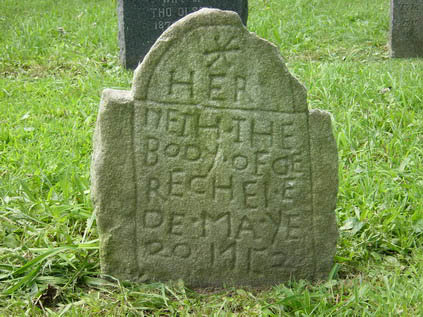 Fig. 4 Colonial British, non-artisanal marker hewn in the likeness of a professionally-carved gravestone, Rechel Gee, 1752, Mount Vernon, New York.