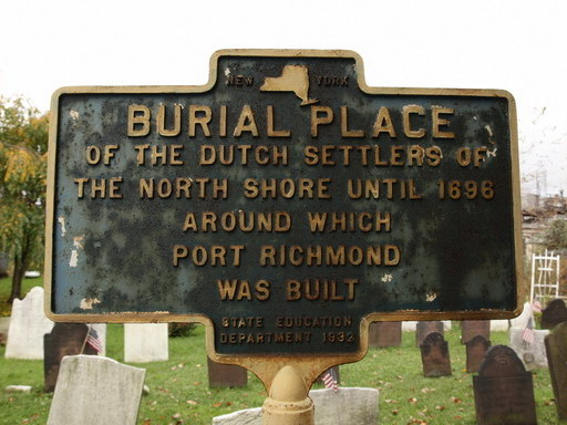 Sign at the Port Richmond churchyard