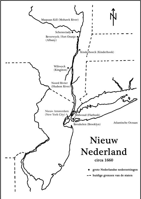 The New-Netherlands around 1660 with the most important cities of that time (in Dutch)