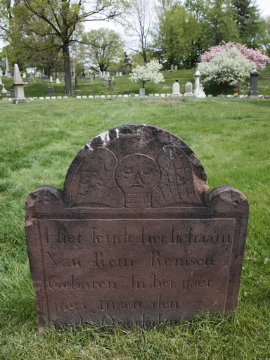 One of the markers of the old Brooklyn churchyard placed in a circle at Green-Wood Cemetery