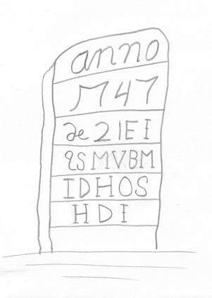 Fig. 6 Example of a plank-like marker with additional carved details, Margaret van Bommel, 1747, New Paltz, New York.