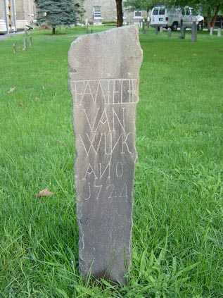 Fig. 7 Colonial Dutch post-like marker possibly identifying burial plot for Van Wyk family, 1724, Kingston, New York.