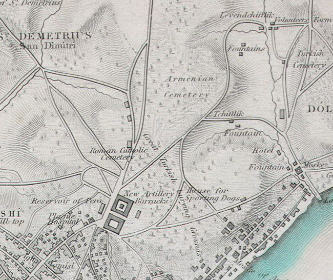 Detail van een kaart van Istanbul van rond 1840 met de begraafplaatsen ten noorden van Taksim (Maps of the Society for the Diffusion of Useful Knowledge. Vol1. 1844.)